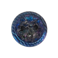 Czech Glass Buttons blue purple vitrail 3 flower button with glass shank 14mm