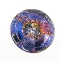 Czech Glass Buttons purple vitrail flower button with glass shank 19mm