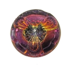 Czech Glass Buttons pink and orange vitrail flower button with glass shank 19mm