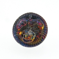 Czech Glass Buttons pink, blue, purple vitrail 3 flower button with glass shank 14mm