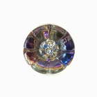 Czech Glass Buttons pink, blue, purple vitrail flower button with glass shank 10mm