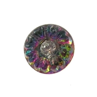 Czech Glass Buttons pink, blue, purple vitrail flower button with rhinestone with glass shank 11mm