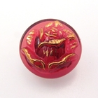 Czech Glass Buttons cranberry with gold rose with glass shank 18mm