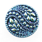 Czech Glass Buttons green, blue, purple iridescent 2 paisley design with glass shank 32mm