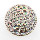Czech Glass Buttons pink with green iridescent 2 paisley design with glass shank 32mm