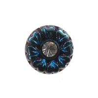Czech Glass Buttons blue iridescent flower button with rhinestone with glass shank 11mm