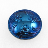 Czech Glass Buttons blue with purple iridescent 3 flower swirl with glass shank 28mm