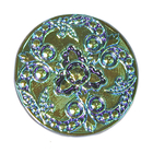 Czech Glass Buttons blue & green metallic iridescent beautifully detailed mandala with glass shank 32mm