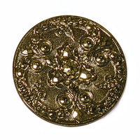 Czech Glass Buttons bronze metallic iridescent beautifully detailed mandala with glass shank 32mm