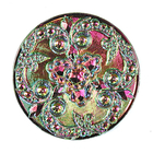 Czech Glass Buttons pink & green metallic iridescent beautifully detailed mandala with glass shank 32mm