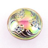 Czech Glass Buttons green with pink iridescent 3 flower swirl with glass shank 28mm