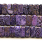 Crazy Lace Agate 10 x 20mm double drilled rectangle purple