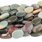 Polychrome Jasper 10 x 14mm flat oval red, browns and grey