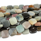 Polychrome Jasper 12mm square red, browns and grey
