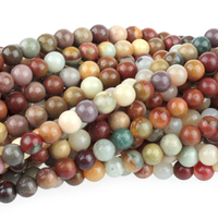 Polychrome Jasper 4mm round red, browns and grey