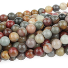 Polychrome Jasper 6mm round red, browns and grey