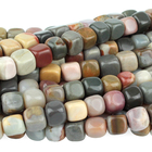 Polychrome Jasper 7mm cube red, browns and grey