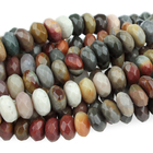 Polychrome Jasper 8mm faceted rondell red, browns and grey