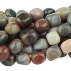 Polychrome Jasper 8 x 10mm tumbled nugget red, browns and grey
