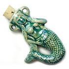 Image Mermaid Clay Bottles 50 x 35mm blue green raku glaze