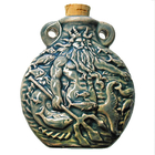 Neptune Clay Bottles 42 x 50mm blue green raku glaze