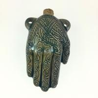 Henna Hand Clay Bottles 39 x 62mm blue green raku glaze | Clay Bottles