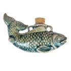 Fish Clay Bottles 58 x 40mm blue green raku glaze
