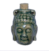 Buddha Head Clay Bottles 42 x 32mm blue green raku glaze