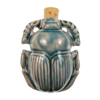 Scarab Clay Bottles 36 x 46mm blue green raku glaze