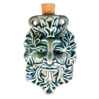 Green Man Clay Bottles 62 x 39mm blue green raku glaze