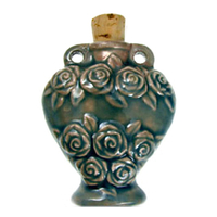 Roses Clay Bottles 45 x 36mm blue green raku glaze