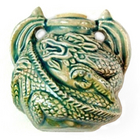 Curled Dragon Clay Bottles 37mm blue green raku glaze