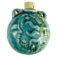 Sun and Moon Clay Bottles 40 x 37mm blue green raku glaze
