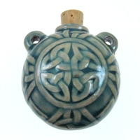 Celtic Knot Clay Bottles 40 x 40mm blue green raku glaze
