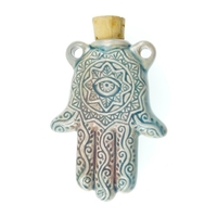 Hamsa Hand Clay Bottles 56 x 35mm blue green raku glaze