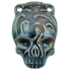 Skull Clay Bottles 39 x 28mm blue green raku glaze