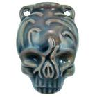 Skull Clay Bottles 39 x 28mm blue green raku glaze
