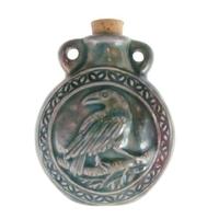 Raven Clay Bottles 42 x 50mm blue green raku glaze