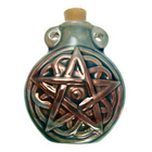 Image Pentagram Clay Bottles 50 x 42mm blue green raku glaze