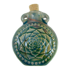 Image Lotus flower Clay Bottles 50 x 42mm blue green raku glaze