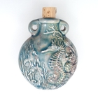 Seahorse Clay Bottles 42 x 50mm blue green raku glaze