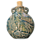 Howling Wolf Clay Bottles 50 x 42mm blue green raku glaze
