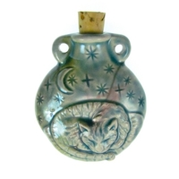 Image Cat Clay Bottles 42 x 50mm blue green raku glaze