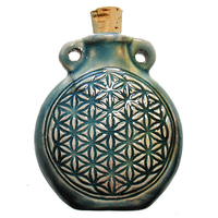 Image Flower of Life Clay Bottles 42 x 50mm blue green raku glaze