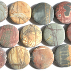Red Creek Jasper 30mm coin mixed colors