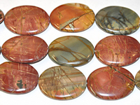 Red Creek Jasper 30 x 40mm oval mixed colors
