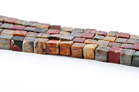 Red Creek Jasper 6mm cube mixed colors