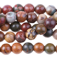 Image Large hole Red Creek Jasper 8mm round mixed colors