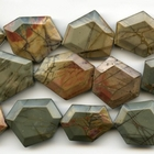 Red Creek Jasper 25 x 30mm faceted hexagon mixed colors