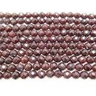 Garnet 6mm faceted round wine red